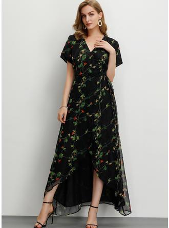Impresión/Floral Manga Corta Acampanado Maxi Casual/Elegante Vestidos