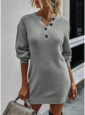 Solid Lange ærmer Shift Over knæet Den lille sorte/Casual Sweater Kjoler