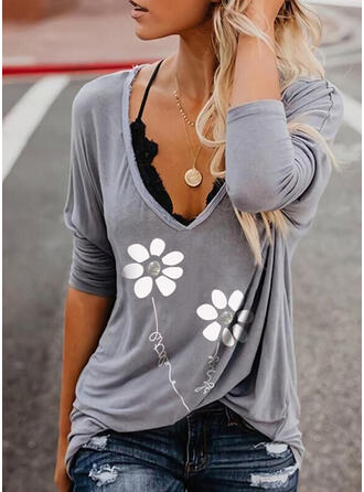Figure Fleurie Imprimé Col V Manches Longues T-shirts