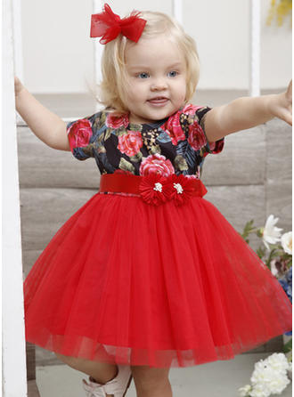Girls Round Neck Floral Embroidery Party Dress
