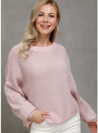 Einfarbig Rundhalsausschnitt Pullover