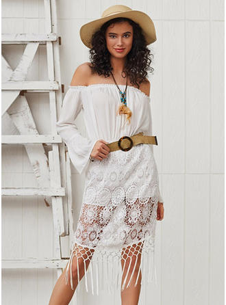 Lace/Solid Long Sleeves/Flare Sleeves A-line Knee Length Casual/Vacation Dresses