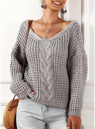 Solid Waffle Knit Cable-knit Chunky knit V neck Sweaters