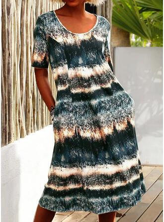 Tie Dye Short Sleeves Shift T-shirt Casual/Vacation Midi Dresses