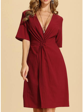 Solid 1/2 Sleeves A-line Knee Length Christmas/Casual/Elegant Dresses