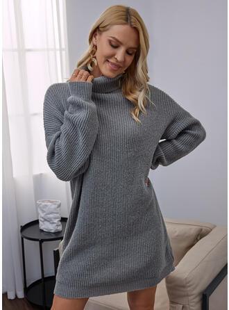 Solide Hoge Nek Casual Sweaterjurk