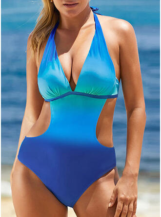 Splice color Strap V-Neck Sexy Fresh One-piece Swimsuits