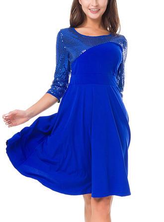 Sequins Round Neck Knee Length A-line Dress
