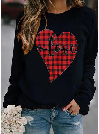 Print Grid Figur Hjerte rund hals Lange ærmer Sweatshirts