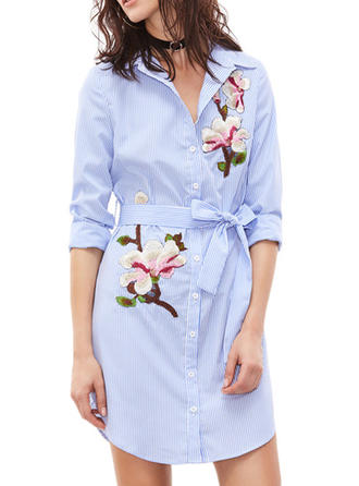 Embroidery Shirt collar Above Knee Shift Dress