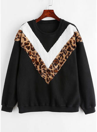 Polyester Animal Print Striped Sweatshirt