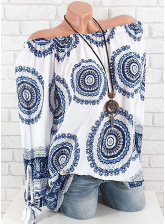 Print Off-shoulder Lange ærmer Casual Bluser