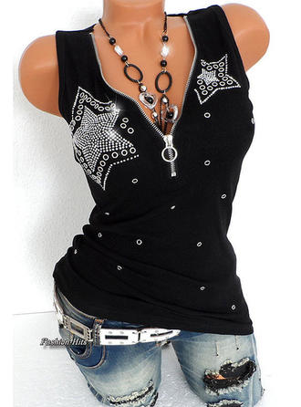 Cotton V Neck Patchwork Sleeveless Shirt Blouses
