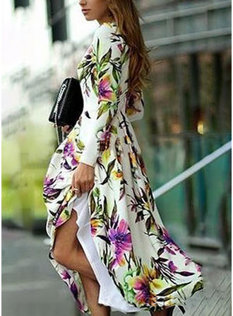 Print/Floral Long Sleeves A-line Maxi Casual/Party Dresses
