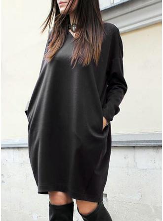Couleur Unie Manches Longues Droite Longueur Genou Petites Robes Noires/Décontractée Robes