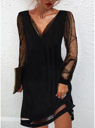 Solid Sequins Long Sleeves Shift Above Knee Little Black/Party/Elegant Dresses