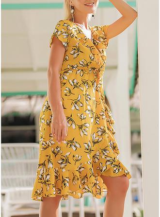 Floral V-neck Knee Length A-line Dress
