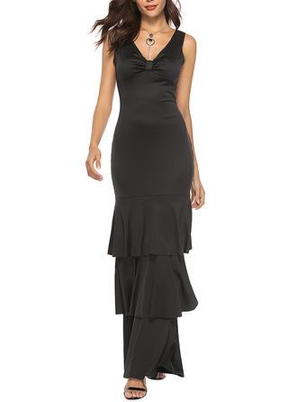 Solid Ruffles V-neck Maxi Sheath Dress