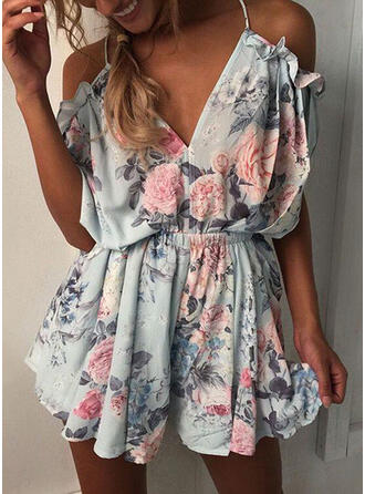 Floral Print V-Neck Cold Shoulder Sleeve Casual Vacation Romper