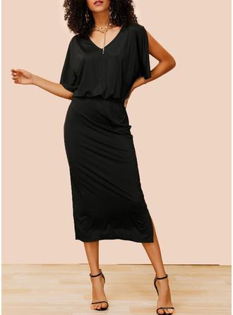 Couleur Unie Manches 1/2/Manches Fendues Fourreau Petites Robes Noires/Décontractée/Fête/Élégante Midi Robes