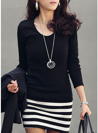 Patchwork Long Sleeves Bodycon Above Knee Casual Dresses