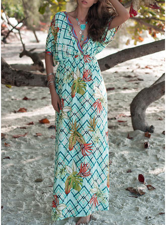 Print 1/2 Sleeves/Batwing Sleeves A-line Maxi Casual/Vacation Dresses