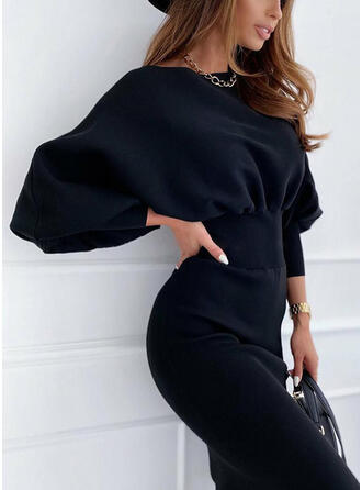 Solid Long Sleeves/Lantern Sleeve Bodycon Knee Length Little Black/Casual Dresses