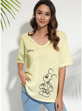 Animal Print Figure V-Neck 1/2 Sleeves Casual T-shirts
