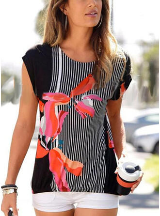 Print Floral Round Neck Sleeveless Casual T-shirts
