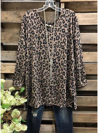 Leopard V-hals Lange ærmer Casual Skjorter