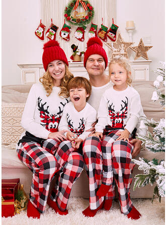 Rentier Kariert Buchstaben Druck Passende Familie Christmas Pajamas