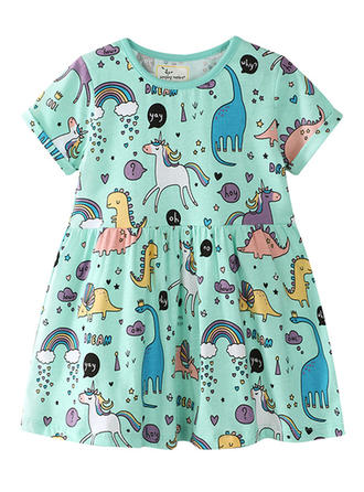 Girls Round Neck Print Casual Cute Dress