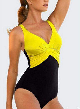 Splice color V-neck Fashionable Plus Size One-piece Swimsuits
