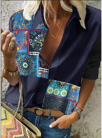 Impresión Solapa Manga Larga Casual Blusas