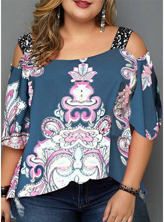 Print Floral Sequins Cold Shoulder 3/4 Sleeves Casual Plus Size T-shirts