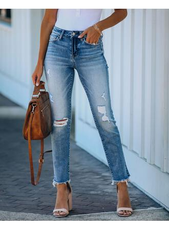 Pockets Shirred Ripped Long Elegant Sexy Denim & Jeans