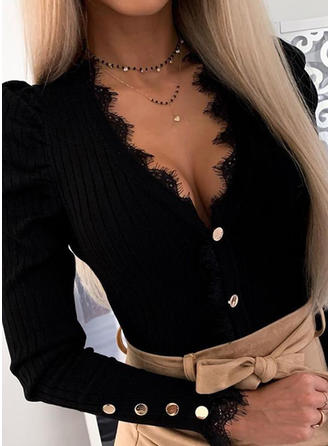 Solid Lace V-neck Long Sleeves Button Up Casual Sexy Knit Blouses
