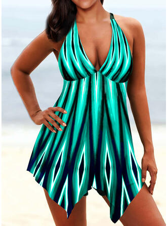 Splice color Halter V-Neck Fashionable Bohemian Swimdresses Swimsuits