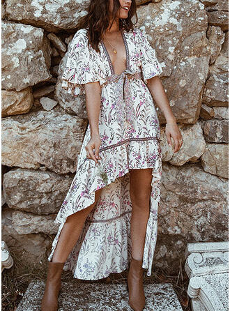 Print 1/2 Sleeves A-line Asymmetrical Casual/Boho/Vacation Dresses
