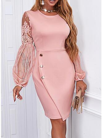 Solid Lace Long Sleeves Lantern Sleeve Sheath Above Knee Elegant Dresses