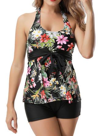 Floral Halter Tankini Swimsuit