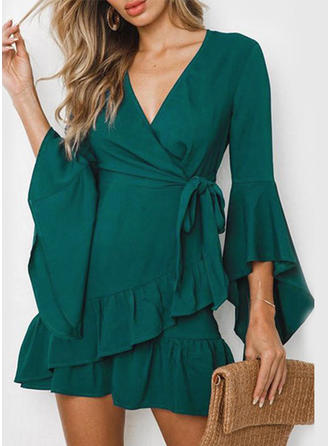Solid 3/4 Sleeves/Flare Sleeves A-line Above Knee Casual/Elegant/Vacation Dresses