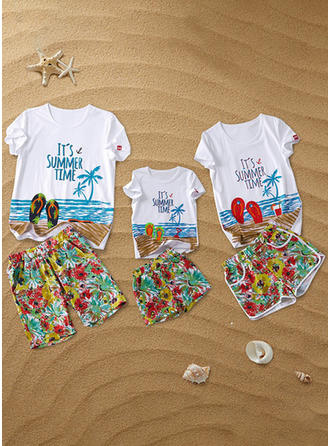 Letter Print Family Matching Sets