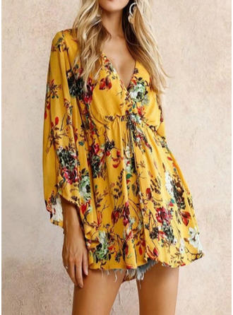 Print/Floral Batwing Sleeves A-line Above Knee Casual Dresses