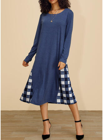 Plaid Long Sleeves Shift Casual Midi Dresses