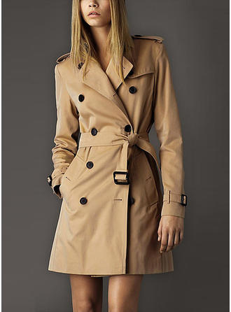 Faux Fur Long Sleeves Plain Trench Coats
