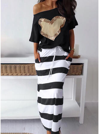 Print/Sequins/Striped 1/2 Sleeves Sheath Casual Midi Dresses