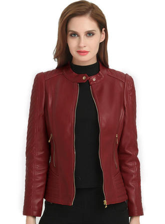 Leather Long Sleeves Plain Jackets