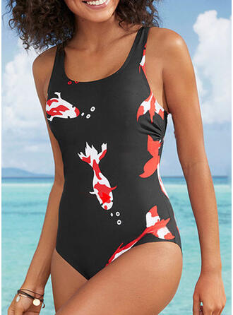 Print Strap U-Neck Fresh One-piece Swimsuits