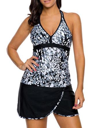 Floral V-neck Elegant Plus Size Tankinis Swimsuits
